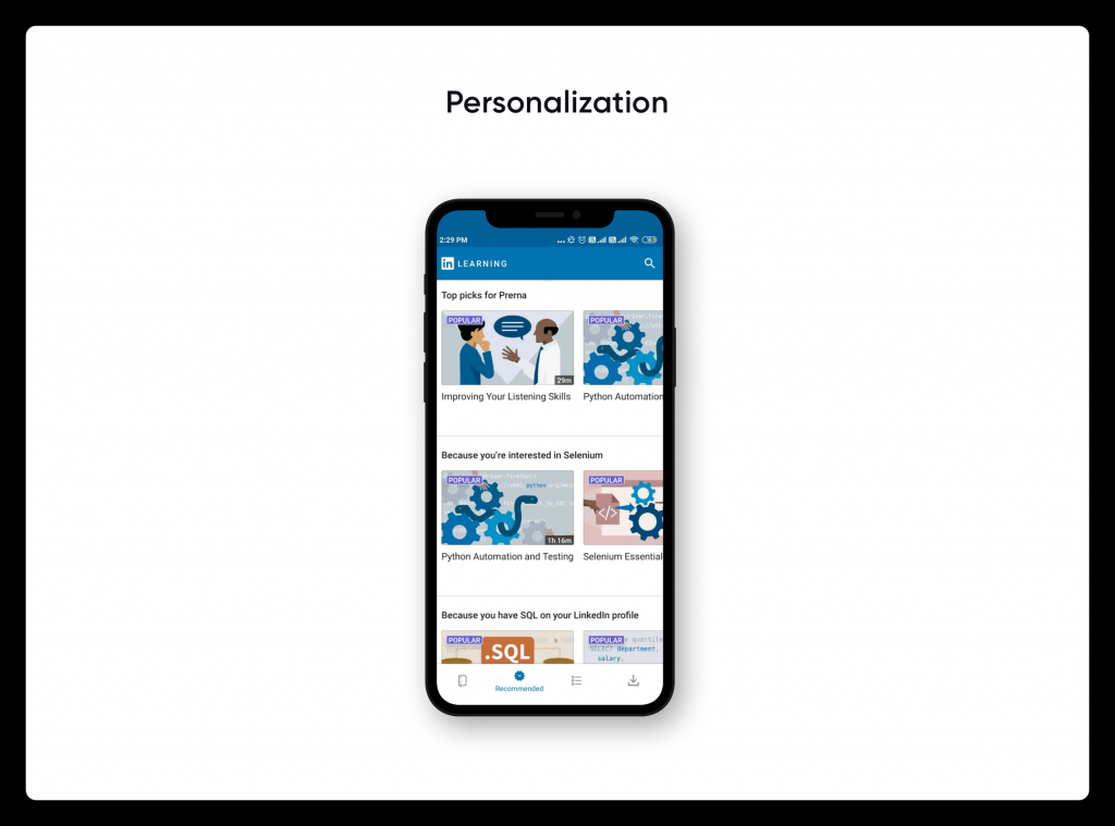 Personalization of LinkedIn Learning